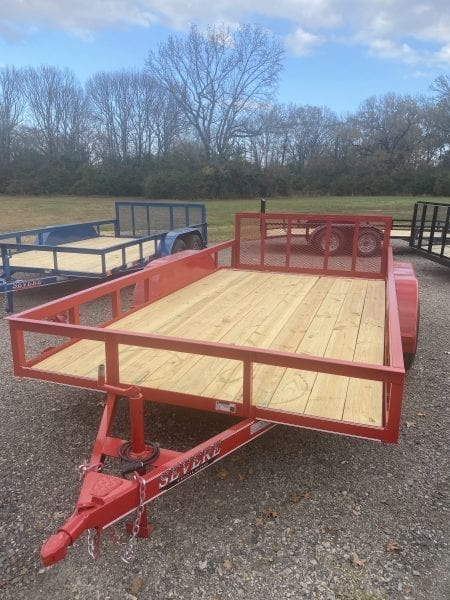 Severe 83″x14′ Utility Tandem Axle 2′ Dovetail 2′ Ramp Gate Red