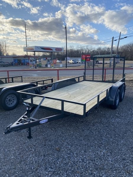 Precision 77″x14′ Utility Tandem Axle 4'Ramp Gate SD or  2'Dovetail 3'Ramp Gate Black/Charcoal