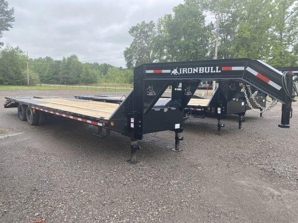 Ironbull 102″x32′ 22K Gooseneck Low-Pro Equipment Trailer 10K axles w/ Rampage Ramps